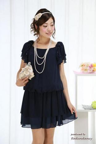 青ドレス; 結婚式ネイビーのパーティードレス